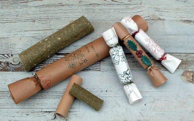 Christmas crackers made using grassy logs
